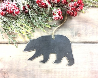 Bear Christmas Ornament, farmhouse Christmas Decor, Rustic Christmas, easy christmas gifts under 10, forest animal ornaments