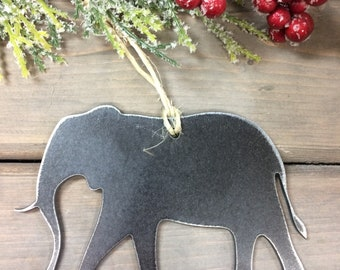 Elephant Metal Christmas Ornament, farmhouse Christmas Decor, Rustic Christmas, easy christmas gifts under 10, farm animal ornaments