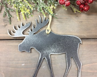 Moose Metal Christmas Ornament, farmhouse Christmas Decor, Rustic Christmas, easy christmas gifts under 10, farmhouse christmas ornaments