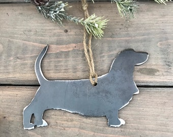 Basset Hound Dog Ornament, Pet Lover, Metal Dog Christmas Ornament ,Pet Loss Dog Memorial, Pet Remembrance, Pet Lover Memorial Ornament