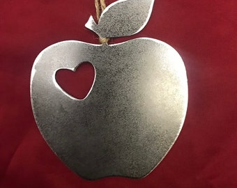 Apple Metal Christmas Ornament, Christmas Decor, Rustic Christmas, Teacher gifts