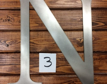 """Clearanced Raw Metal Letter N - 15 3/8"""""""