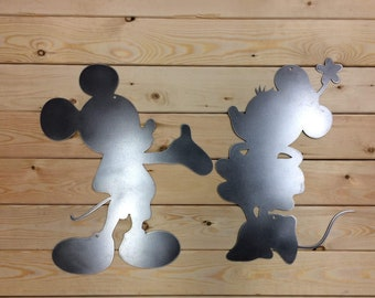 24 Inch Mickey & Minnie Mouse Type Silhouette Metal Wall Art