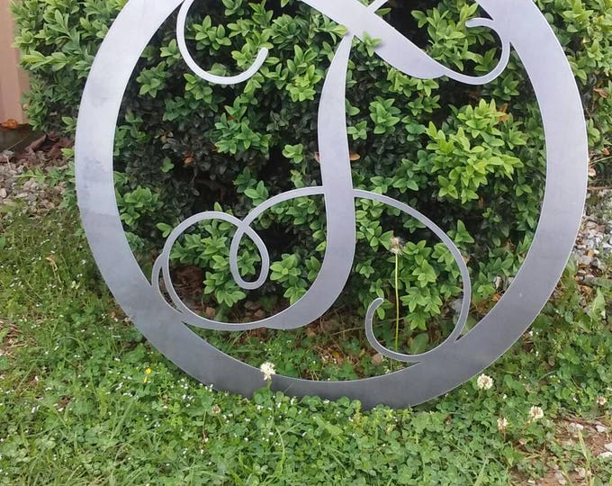 Featured listing image: 20 INCH RAW METAL Circle Monogram Metal Sign 20 Inch-Round Monogram Metal Sign-Custom Metal Sign-Bare Unfinished Metal Letter Sign