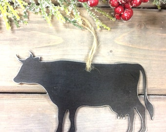 Cow Metal Christmas Ornament, farmhouse Christmas Decor, Rustic Christmas, easy christmas gifts under 10, cow love, cattle farm ornament