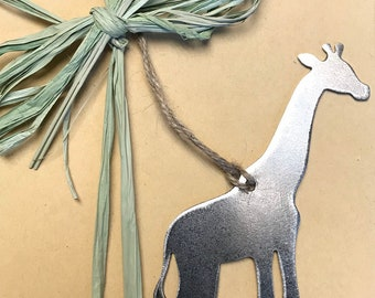 Giraffe Christmas Ornament, farmhouse Christmas Decor, Rustic Christmas, easy christmas gifts under 10, safari animal ornaments