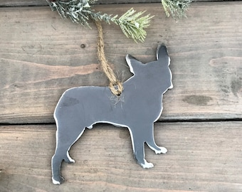 Bulldog Ornament,  Pet Lover, Metal Dog Christmas Ornament ,Pet Loss Dog Memorial, Pet Remembrance, Pet Lover Memorial Ornament