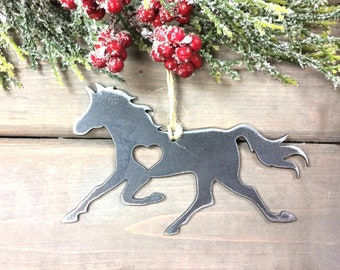 Running Horse Metal Christmas Ornament-Christmas Decor-Rustic Christmas-easy christmas gifts under 10, horse love- farmhouse christmas decor
