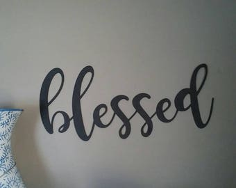 SMALL Blessed word wall decor- blessed wall decor- blessed home decor