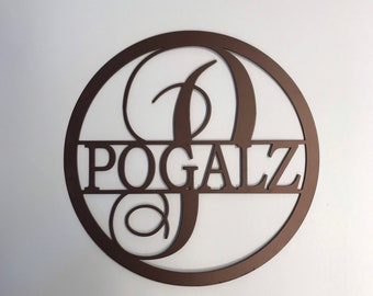 POGALZ last name sign- 15 inch copper powder coat- Clearance