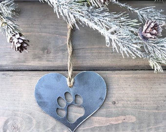 Dog Paw Print metal Ornament, Christmas Decor, Rustic Christmas, Pet Christmas Gift, Dog Christmas ornament, dog christmas gift, puppy love,