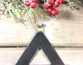 Camping Metal Christmas Ornament, Christmas Decor, Rustic Christmas, easy christmas gifts under 10, camping love, rustic camping ornament