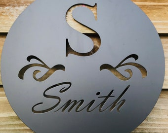 Personalized Family Name Metal Sign/ Housewarming Gift/ Door Hanger/ Wedding Gift/ Metal Monogram Sign/ Porch Decor Sign