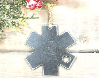 Paramedic EMT love Metal Christmas Ornament, Christmas Decor, Rustic Christmas,unique christmas gifts, christmas idea under 10,