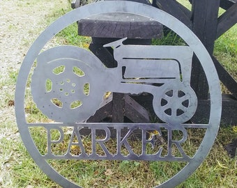 20 INCH Customized Tractor  Sign with Name, barn sign, farm sign, barn metal sign, metal tractor