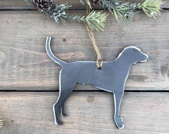 Fox Hound Dog Ornament,  Pet Lover, Metal Dog Christmas Ornament ,Pet Loss Dog Memorial, Pet Remembrance, Pet Lover Memorial Ornament