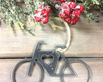 Bicycle Metal Christmas Ornament, Christmas Decor, Rustic Christmas, easy christmas gifts under 10, bike love-farmhouse christmas decor