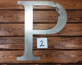 Clearanced Raw Metal Letter P - 15 3/8""