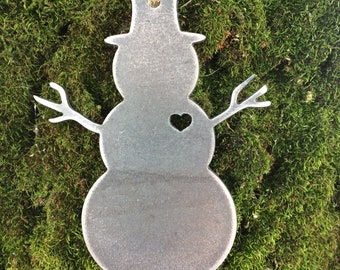 Snow Man Metal Christmas Ornament