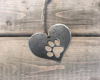 Paw Print Christmas Ornament, industrial Christmas Decor, Rustic Christmas, Dog Christmas keepsake, pet ornaments