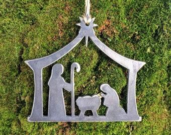 Nativity Metal Christmas Ornament, Christmas Decor, Rustic Christmas, easy christmas gifts under 10, Christian gifts