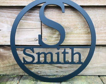 24 INCH Circle Monogram with Family Last Name, Personalized Monogram Door Hanger, Custom Metal Sign with Last Name