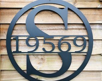 15 INCH Circle Monogram with Family Last Name, Metal Wall Art, 15 Inch Round Monogram Metal Sign-Custom Metal Sign With Last Name or address