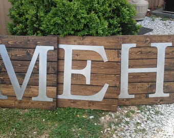 Farmhouse Sign-Farmhouse Wall Decor- Rustic Wood Sign with Metal Letter- country home decor