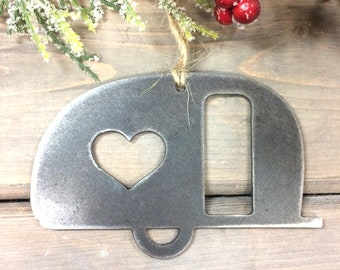 Camper Christmas Ornament-Christmas Decor-Rustic Christmas-camping christmas gift, metal ornaments-rv gifts,-farmhouse christmas decor-