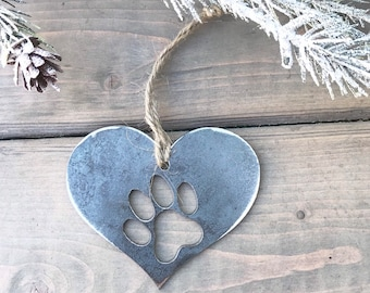 Cat Paw Print metal Ornament, Christmas Decor, Rustic Christmas, Pet Christmas Gift, cat Christmas ornament, cat Christmas gift, cat lover
