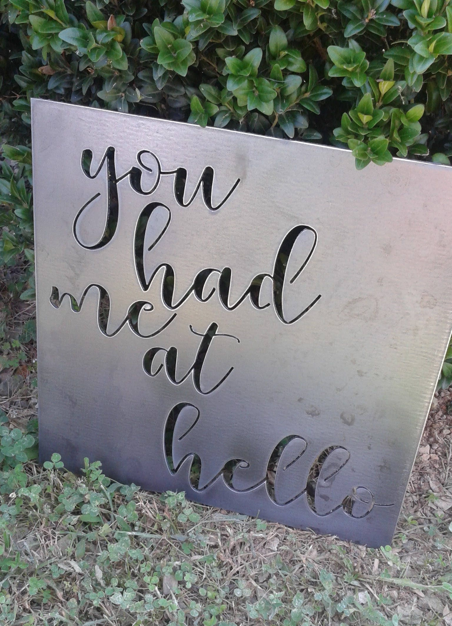 You Had Me At Hello Quote | You Had Me At Hello Large Metal Sign Quote Custom Quote Metal Sign