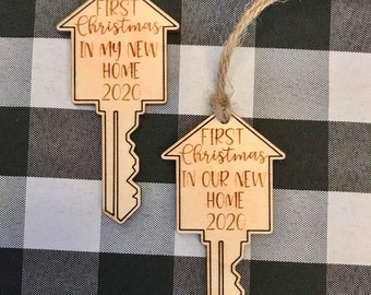 Personalized First Christmas ornament-New Home Gift Christmas - wood Christmas ornament- laser engraved-personalized ornament