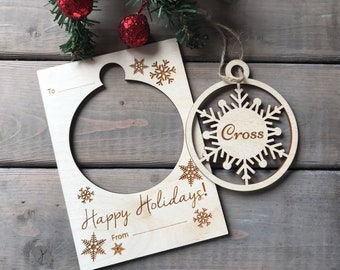 Personalized Christmas Card with Ornament  Unique Christmas Card  Unique Christmas Gift  Wood Christmas Card
