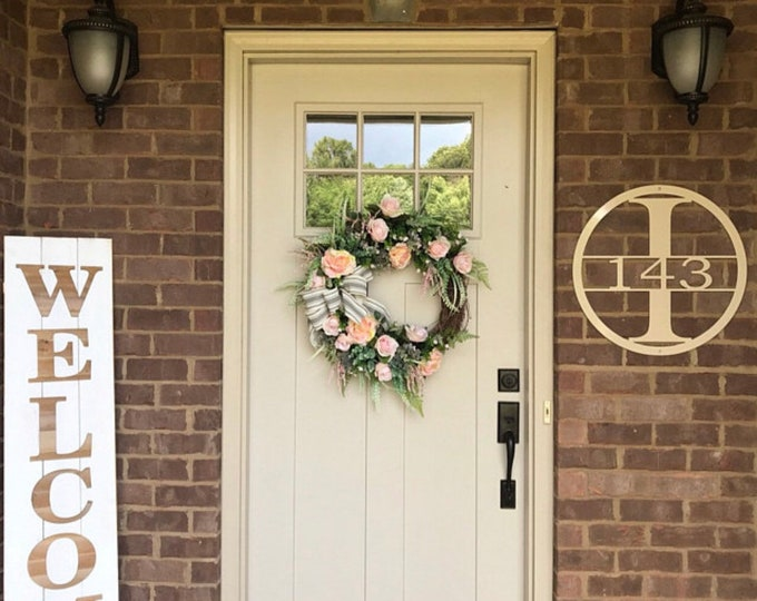 Featured listing image: 15 Inch Circle Personalized Family Name Metal Sign/ Door Hanger/ House Warming Gift/ Real Estate Gift/ Metal Monogram Sign/Front Porch Decor
