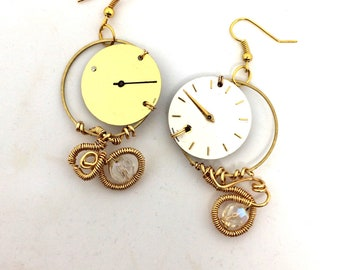 Watch Dial Earrings Gold White
