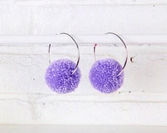 Lilac Pom Pom Hoop Earrings, Pom Pom Earrings, Hoop Earrings, Statement Earrings, Purple Pom Poms