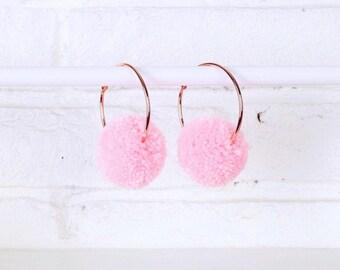Candyfloss Pink Pom Pom Earrings, Pom Pom Hoops, Pom Pom Earrings, Pink Hoop Earrings, Pink Earrings, Handmade Earrings, Pink Pom Poms