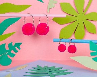 Neon Pink Pom Pom Hoop Earrings, Neon Earrings, Pom Pom Hoop Earrings, Pom Pom Earrings, Statement Earrings