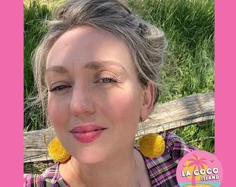Mustard Pom Pom Hoop Earrings, Pom Pom Hoop Earrings, Pom Pom Earrings, Hoop Earrings, Earrings, Handmade Earrings, Pom Poms