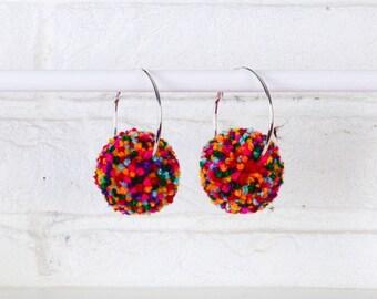 Rainbow Earrings, Rainbow Pom Pom Earrings, Pom Pom Hoops, Pom Pom Earrings, Hoop Earrings, Statement Earrings, Multicoloured Earrings