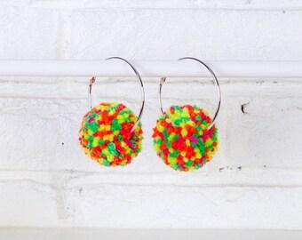 Neon Pom Pom Earrings, Neon Rainbow Earrings, Pom Pom Hoops, Pom Pom Earrings, Neon Hoop Earrings, Earrings, Neon Pom Poms, Neon Jewellery