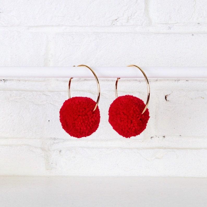 615b247bf80a33 Red Pom Pom Hoop Earrings Pom Pom Earrings Hoop Earrings | Etsy