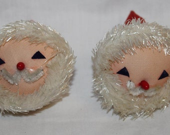 Pair of Vintage Santa Head Paper Mache Christmas Ornaments