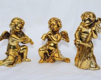 Vintage Gold Ceramic Cherub Angels Figurines Made in Japan