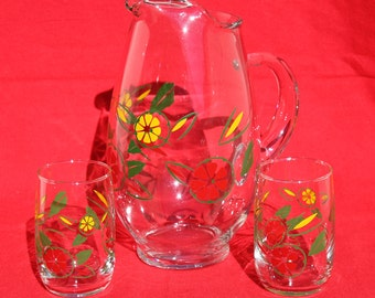 Vintage Glass Pitcher and Glasses for Juice