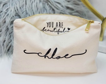 Bridesmaid Gift - Inside Message - Bridesmaid Makeup Bag - You are beautiful - Bridesmaid Proposal - Bridal Clutch