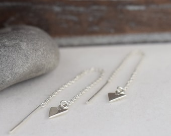 sterling silver chain arrow threaders, hypoallergenic pull-through multiple piercing triangle ear threads, gift for her girl daughter sister