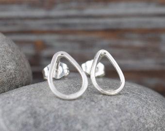 teardrop stud earrings - solid sterling silver hypoallergenic posts, minimalist gift for her daughter sister best friend stocking stuffer