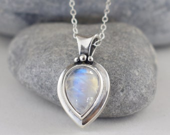 moonstone sterling silver teardrop pendant necklace - adjustable length June birthstone 3rd 13th anniversary gift for her wife sister mom
