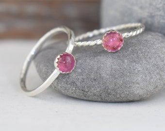 pink tourmaline sterling silver stacking ring - hammered or twist band, October birthstone 5th anniversary 8th anniversary gift for her wife